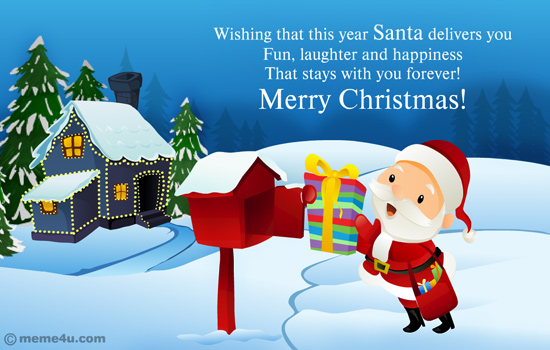 Merry Christmas Greeting Card With Santa