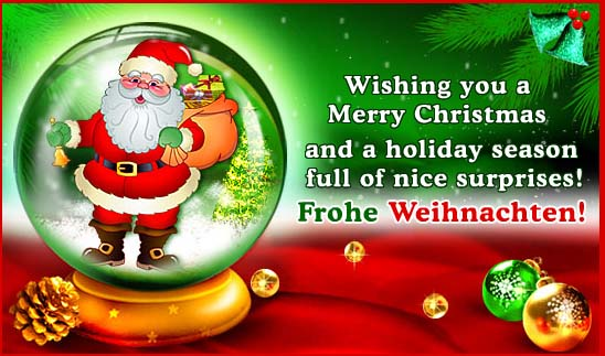Merry Christmas Image with Message in German