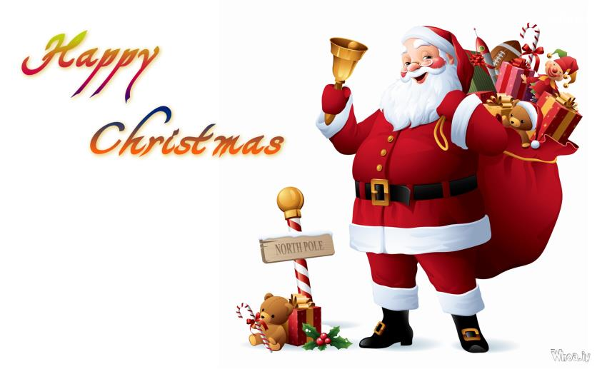 Merry Christmas Image with Santa Claus